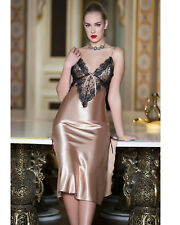 Women Caramel Satin and Lace Nightdress   European Products