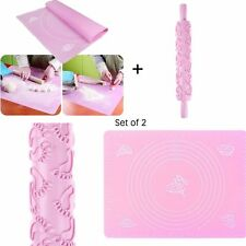 Non-stick Rolling Pin Fondant Cake Embossing Roller + Silicone Baking Mat Pad