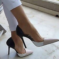 NEW ZARA NUDE LEATHER WIDE WIDE LEATHER HIGH HEEL SANDALS Schuhe ... ec8664