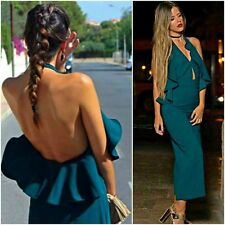 ZARA Green Long Jumpsuit With Crossover Neckline Woman Authentic BNWT 7999/778