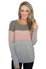 Womens Grey Triple Colorblock Cute Sweatshirts Pullover Small -Plus size.