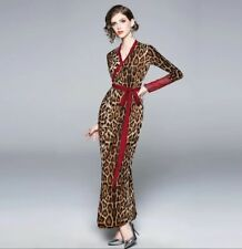 Runway designer inspired brown leopard  print red lace cocktail dress 8 10 12