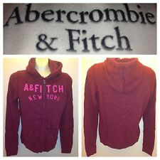 NWT ABERCROMBIE & FITCH WOMENS FLEECE HOODIES JACKET SIZE,L A&F burgundy $68