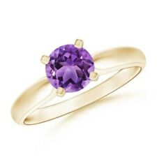 Solitaire Round Natural Amethyst Engagement Ring 14k Gold/Platinum Size 3-13