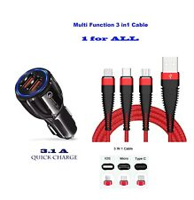 Auto Ladekabel 3in1 Multifunktionsgerät Typ C Micro USB Lightning iPhone Samsung