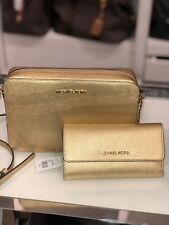 MICHAEL KORS SAFFIANO LEATHER  LARGE EW CROSSBODY BAG GOLD + TRIFOLD WALLET
