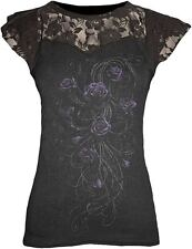 SPIRAL DIRECT ENTWINED LACE LAYERED CAP SLEEVE TOP ROCK GOTH