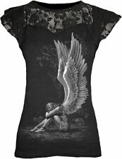 SPIRAL DIRECT ENSLAVED ANGEL LACE LAYERED CAP SLEEVE TOP ROCK GOTH