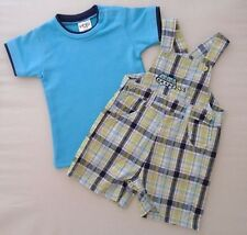 12m Baby Boy Dungarees T-Shirt Shorts Blue Cotton Summer Check Outfit