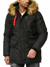Herren Winterjacke Parka Mantel Warme Winter Funktions- Jacke Outdoor Kunstfell