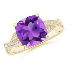 February Birthstone Best AAA Solitaire Cushion Amethyst Diamond Criss Cross Ring
