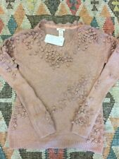 Sundance Windsome Ways Pullover Sweater V Neck Wool/Mohair Rose