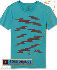 NWT Boss Orange Label by Hugo Boss Dyed Cotton Graphic Tee T Shirt in Teal
