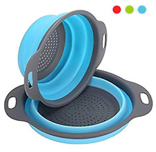 Collapsible Kitchen Colander , 2 Pcs Silicone Strainer Set Includes 2 Sizes 8 an