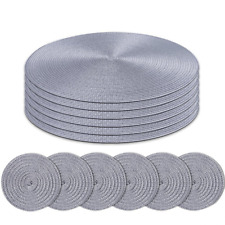 Homcomoda Round Placemats and Coasters Set of 6 Braided Woven Table Place Mats f