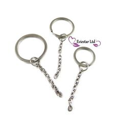 Flat Double Split Ring with Cable Chain Kaychain 304 Stainless Steel G85