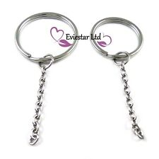 Key Rings Double Split Ring with Cable Chain, 304 Stainless Steel, G98