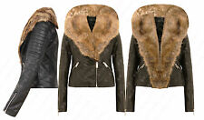 P60 WOMENS LADIES FULL FRONT FAUX FUR LEATHER PVC BOMBER BIKER CROPPED JACKET.