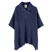 Aran Traditions Cable Knit Acrylic Neck Cape Poncho Shawl
