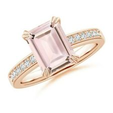 Double Claw-Set 2.1ct Solitaire Natural Morganite Diamond Engagement Ring