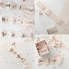 HEN PARTY SASHES - Bride to Be / Bridesmaid / Team Bride & More! -Pink/Rose Gold