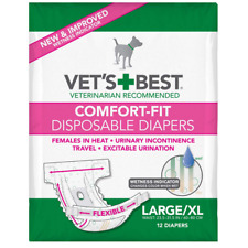 Vet's Best Comfort Fit Disposable Female Dog Diapers with Wetness Indicator, Lar