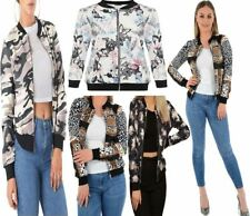 Womens Ladies Butterfly Floral Bomber Jacket Rose Print Zip Up Crew Neck Coat