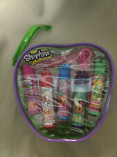 NEW Shopkins 5 pack girls lip balm set in zippered pouch 5 flavors cherry