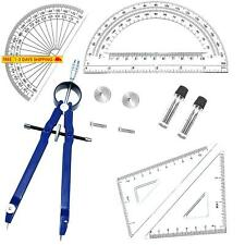 5 Piece Geometry School Set,with Quality Compass, Set Squares, Protractor,Drawin