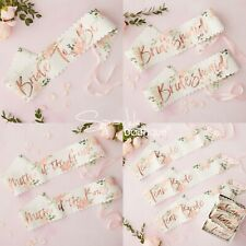 FLORAL HEN PARTY SASHES -Bride to Be / Bridesmaid / Team Bride- Pink & Rose Gold