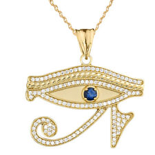 10k Yellow Gold Eye of Horus with Blue Cubic Zirconia  Pendant Necklace