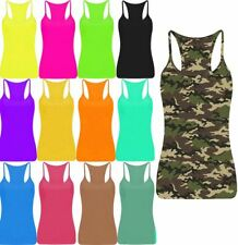Ladies Strappy Racer Back Lycra Vest Top Womens Sleeveless Scoop Neck Shirt Top