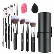 12 Piece Professional Makeup Brushes Set with Make Up Sponge and Brush Cleaner