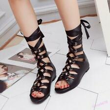 Fashion Roman Sandals Flats Women's Shoes Hollow Out Open Toe Lace Up Plus Size