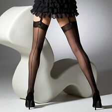 Seamed French Heel Black Stockings vintage hold ups 1950s 1940s prom occasion pi