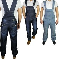 McCarthy Jeans Mens Denim Lightwash Dark Wash Blue Dungarees King Size Overalls