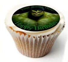 Incredible Hulk Birthday Cupcake Toppers x20 Rice Paper or Icing, Personal. 848