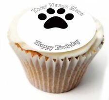 Paw Print Birthday Cupcake Toppers; x20 Rice Paper or Icing, Personalised. 29