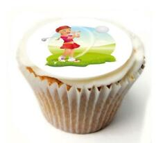 Female Golf Birthday Cupcake Toppers x20 Rice Paper or Icing, Personal. 950