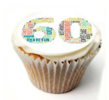 Happy 60th Birthday Cupcake Toppers x20 Rice Paper or Icing, Personal. 940
