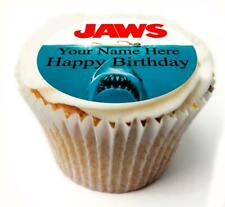 Jaws Birthday Cupcake Toppers x20 Rice Paper or Icing, Personal. 846