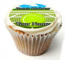 Tennis Ball Birthday Cupcake Toppers x20 Rice Paper or Icing, Personal. 888