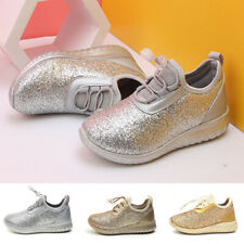 Girls Kids Glitter Trainers Lace Up Pumps Ankle Shoes Sports Running Sneakers