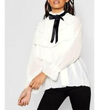 New Ladies Ruffle Frill Layered High Neck Blouse Pussy Bow Fashion Party Wear