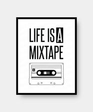 Life Is A Mixtape Inspirational Wall Quote Art Print Poster