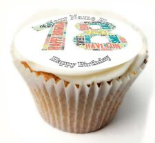 Happy 18th Birthday Cupcake Toppers; x20 Rice Paper or Icing, Personalised. 18