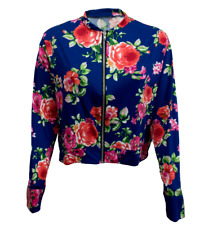 Womens Ladies Long Sleeve Zip Front Floral Print Cropped Bomber Jacket