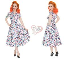 Hearts & Roses 50's Vintage White Poppy Floral Tea Dress for Ladies
