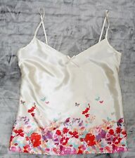 NEW Satin Floral Butterfly Camisole Cream Cami Adjustable Straps UK size 8