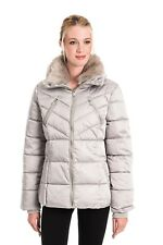 Rino & Pelle Women's Temmy Faux Fur Collar Quilted Coat - Moonrock